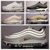 Wholesale Brown Snakeskin Shoes Women - 2017 Max 97 OG QS Running Shoes Top Quality Pink Snakeskin Gold Silver All White Max 97 Men Women Sports Shoes Sneakers