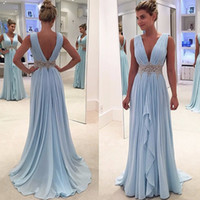 Wholesale Best Wedding Gown Designers - Best Selling Evening Gowns Sky Blue Plunging V Neck Pleated Low Back Sashes Sleeveless Sweep Train Prom Dresses 2017