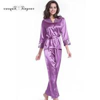 Wholesale Satin Night Suits - Wholesale- Free shipping women pyjama set new summer silk satin night suit long sleeve pants v neck breathable pajamas 3 colors optional