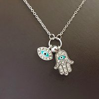 Wholesale Necklace For Health - Wholesale-Gold Silver Hamsa Blue Eyes Necklace Turkish Style May Goddess Pray For Health Unique Women Pendant Necklaces 2016 New