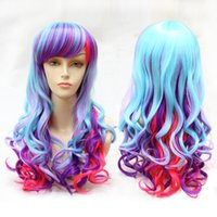 Mix Color New Style Medium Synthetic Cosplay Wigs Wave Hair Wigs Um pacote para menina