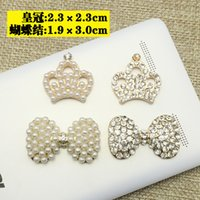 Wholesale Diy Phone Case Charms - 50pcs Rhinestones Pearl Crown DIY Jewelry strass para artesanato Buckle Crystal Button Charms Drilling Applique Hair Phones Case Accessories