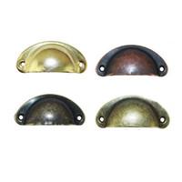 Wholesale Door Pull Handle Brass - Vintage Shell Shape Pull Handle Cabinet Knobs Retro Metal Kitchen Drawer Cabinet Door Handles Furniture Knobs