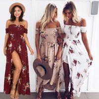 Wholesale chifon summer dress - 2017 casual dresses Boho style long dress women Off shoulder beach summer dress new year Vintage chifon white maxi dress vestidos 7 colors