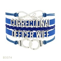 Wholesale Handcuff Leather Bracelet - (10 Pieces Lot) Infinty Love Correctional Officer Wife Handcuffs Charm Bracelet Leather Wrap Black Royal Blue Bracelet Drop Shipping