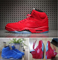 Wholesale Fast Mid - Raging Bull 5s Red Suede 5s Ice Blue Suede 5s RETRO 5 With Box Wholesale Basketball Shoes Men Size Fast shipping