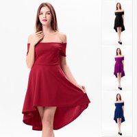 Wholesale Casual Off One Shoulder Dresses - Women Summer Dress Off Shoulder Skater Dress Irregular Skirt Short Sleeve Panelled Slim Solid Color One-Piece