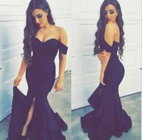 Wholesale Short Wedding Reception Dress - Custom Made Mermaid Bridesmaid Dresses 2017 Navy Blue Formal Split Evening Dresses Off the Shoulder Backless Wedding Reception Gowns