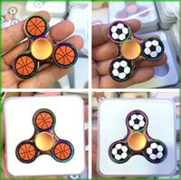 Wholesale Basketball Big Kids - New Rainbow Football Basketball Tri Hand Spinners EDC Hand Fidget Spinner Fingertip Gyro Anti-Anxiety Anxiety Toy Metal Rainbow Chrome