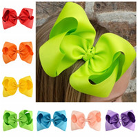 Wholesale Girls Hairclips Ribbons Bows - 20Pcs Lot 8 Inch Large Kids Hairbows Hairclips Girl Hair Grosgrain Ribbon Bow Hairpins Headdress Kids Hair Accessories Beautiful HuiLin C85