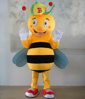 Wholesale Mascot Costumes For Sale - 0524 free shipping adult bee cartoon mascot costume with mini fan inside the head for sale