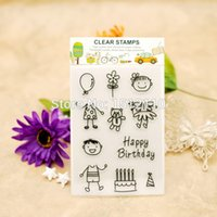 Wholesale Girl Scrapbooks - Wholesale- Scrapbook DIY photo cards account rubber stamp clear stamp transparent stamp Happy Birthday Boy Girl Cake 11x16cm KW651411