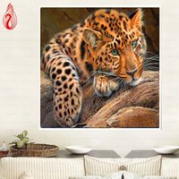 Wholesale Oil Leopard Animal - YGS-238 DIY 5D Diamond Embroidery animal leopard Round Diamond Painting Cross Stitch Kit Mosaic Painting Home Decoration