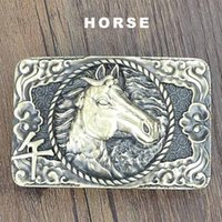 Wholesale Chinese Horse Bronzes - Top Quality Unique Chinese Zodiac Animals New Design Horse Brass Metal Buckles Fit for 3.6-4.0cm Width Belt Men Smooth Belts Buckle BUK0001
