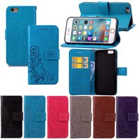 Wholesale Iphone Blue Coin Case - For iPhone 6 Plus 5.5 Inch Wallet Case Cover PU Leather Coining Lucky Four Leaf with Magnetic Flip Buckle Card Slots