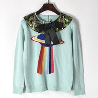 Wholesale Knitting Wool Dolls - 2017 New Autumn Winter Women Knitwear Sweet New Ball Butterfly Sequin Doll Collar Knitted Sweater Blouse Female Pullovers Outwear Tops