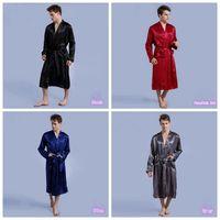 Wholesale Thin Night Gown - Men Plain Silk Rayon Kimono Bathrobe Solid Color Thin Male Long Robe Night Gown Sleepwear 4 Colors OOA1908