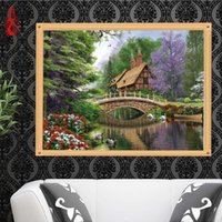Wholesale Cabin Decorations - YGS-258 DIY 5D Full Diamond Embroidery Oil painting cabin Round Diamond Painting Cross Stitch Kit Diamond Mosaic Home Decoration