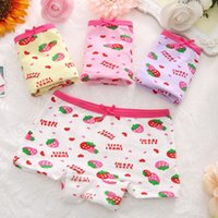 Wholesale Strawberry Boxers - 2336 new children underwear Cotton Boxer cute baby pants strawberry cartoon printing factory direct wholesale