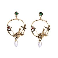 Wholesale tin bird resale online - 2017 Punk Jewelry Round Circle Hollow Drop Earrings Women Bijoux Antique Gold Color Birds Flower Earrings Dangler