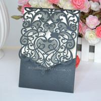 Wholesale Pocket Invitation Envelopes - Wholesale- elegant wedding invitations black custom made laser cutting envelope wedding pocket