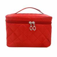 Wholesale Train Purse - Wholesale- FGGS-New Zipper Cosmetic Storage Make up Bag Handle Train Case Purse-S blue