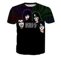 Wholesale Shirt Kiss - Newest Fashion Womens mens KISS Funny 3D Print Casual Short Sleeve T-shirt LMS000138