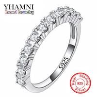 ingrosso puro set di argento sterlina-Anelli d'argento solidi di modo di YHAMNI messi anelli di cerimonia nuziale del diamante della CZ per le donne 925 anelli d'argento puri dell'argento R144