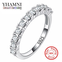 YHAMNI Fashion Solid Silver Rings Set AAA CZ Diamond Wedding Rings For Women Bijoux en argent sterling 925 en argent sterling R144