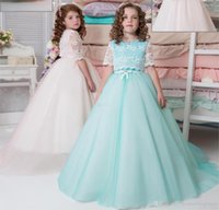 Wholesale Cheap Baptism Gowns - 2017 Two Pieces Lace Flower Girl Dresses Short Sleeve First Communion Gowns Long Baptism Cheap Little Kids Formal Wear Girls Pageant Dresses