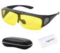 Wholesale Fit Sunglasses - Wholesale- Agstum Fit Over Wrap Around Eyeglasses Prescription Glasses Polarized Night Driving Flip up Night Vision Sunglasses Goggles