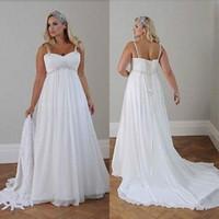 Wholesale Empire Waist Wedding Dresses Beaded - Plus Size Casual Beach Wedding Dresses 2017 Spaghetti Straps Beaded Chiffon Floor Length Empire Waist Elegant Bridal Gowns