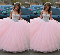 Wholesale ball images free online - Ball Gown Pink Quinceanera Dresses Sparkle Crystals Sweet Dresses Sweetheart Birthday Prom Dresses