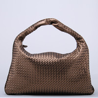 Wholesale Celebrity Pink Bag - Wholesale- Brand New Celebrity Ladies Woven Leather Handbag Criss-Cross Hobo Dumplings Bag Women's Knitting Casual Tote