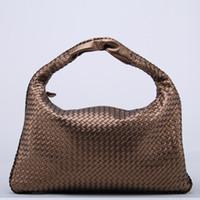 фирменные сумки знаменитостей оптовых-Wholesale-  New Celebrity Ladies Woven Leather Handbag Criss-Cross Hobo Dumplings Bag Women's Knitting Casual Tote