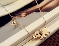 Wholesale Gold Elephant Earrings - Cute Elephant Necklace Family Stroll Design Fashion Women Charming Crystal Chain Necklace Chocker necklace Free shipping
