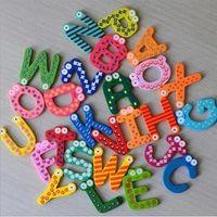letras do ímã do refrigerador venda por atacado-Unisex Crianças Brinquedo Educativo Letras De Madeira Alfabeto Aprendizagem Fridge Magnet 26 pcs