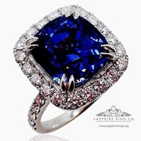 Wholesale Natural Diamond Ring Ct - GIA Platinum 10.17 ct Blue Cushion Cut Ceylon Natural Sapphire & Diamond Ring