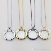 Wholesale Glass Locket Necklace Gold - 30mm floating locket DIY Jewelry transparent glass frames floating charm lockets pendants ak029