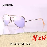 Wholesale round peach - AOOKO Hot Sale Men Women Sunglasses Alloy Bronze Frame Lavender Platinum Rose Cherry Peach pink Glass Lens Sunglasses 58mm 62MM with case