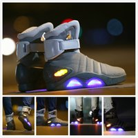 Wholesale Easter Led Lights - Air Mag Sneakers Marty McFly's LED Shoes Back To The Future Glow In The Dark High Quality Gray & Black Mag Marty McFlys Boots