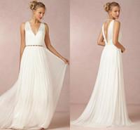 Wholesale Greeks Pictures - Summer 2017 White Chiffon A Line Wedding Dresses Deep V Neck Open Back Floor Long Greek Boho Bridal Wedding Gowns Custom Made Cheap