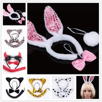 Wholesale Cats Performance - 7styles Animal cosplay props 3pc sets 3D Ears Headband+Neckbow+Tail cat leopord rabbit devil Masquerade costumes performance props Holloween