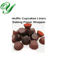 Wholesale Muffin Liner Brown - Cupcake liners paper cases macaron muffin wrappers stand 3.5cm brown pastry baking tools Kids Birthday Party Decorations 4200pcs carton