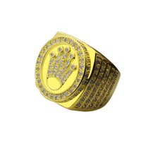 Wholesale Gold Ring Punk - NEW Rock Hip Hop Men 18K Gold Plated King Crown Finger Ring Fashion Punk Jewelry Drop Shipping