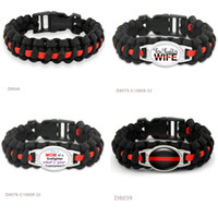 Wholesale Wholesale Firefighter - THIN RED LINE FIRE Wife Paracord Survival Friendship Bracelets for I'm Mom Of A Firefighter Superpower RED BLACK