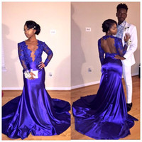 Wholesale Womens Pageant Formal Dresses - Fashion Royal Blue Evening Dresses 2017 Sexy 2K17 Black Girl Low V-neck Long Backless Mermaid Womens Pageant Dresses for Formal Prom Party