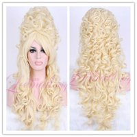 Wholesale Victorian Hair - Modern Marie Antoinette Victorian Renaissance Long Curly Blonde Cosplay Hair Wig