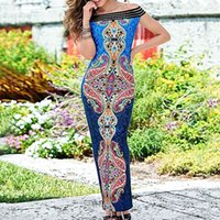 Wholesale China Dress Pattern - made in china paisley pattern printed summer style off shoulder slash neck pencil maxi long dresses for women