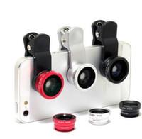microscopio movil al por mayor-NUEVO Universal 3 en 1 Gran Angular Macro ojo de pez lente cámara lentes de teléfono móvil ojo de pez Lentes para iPhone 6 7 teléfono inteligente microscopio